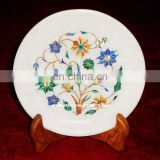 Marble Flower Inlay Antique Plate Handcrfted