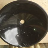 Black Marquina Marble Bathroom Vessel Round Sink Natural Stone Wash Basin