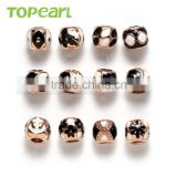 Topearl Jewelry Assorted Stainless Steel European Charm Bead Black White Rose Gold TCP14