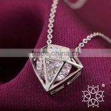 925 sterling silver diamond shape geometry simulation pendant necklace box chain cross chain necklace