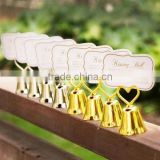 """KISSING BELL"" Gold Heart Bell Wedding Place Card Holder and Party table card holder"