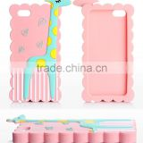 Cute 3D Giraffe Cartoon Animal Silicone Case for iPhone4 4S