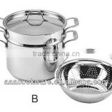 2015 New Products 3pcs Guangdong Quality 304 Stainless Steel Pasta Pot Set Wtih Pasta Steamer For Wholesale