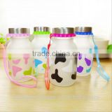 2014year wholesale sealing up lovely milk line frosted glass bottle student carrying bottles