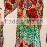 DIGITAL PRINTED LONG KAFTAN DRESS, HIGHLIGHTED WITH BEADS WORK AT NECK JEWELRY.