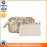 Solid Metal Frame Travel Wash Bag Golden Leopard Pu Cosmetic Pouch Bag Cosmetic Makeup Bag Set