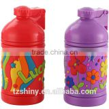 2016 New Design Plastic Cute Bottle with Bouncing Lid Press Button Plastic Caroon Bottle for Kid