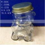 350ml 12oz bear shape candy glass jar with screw lid