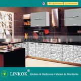 High quality acrylic kitchen cabinets modular kitchen cabinets with black quartz counter top