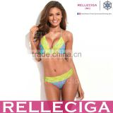 RELLECIGA Lace Bikini Series - Colorful Wavy Stripes + Neon Yellow Lace Brazilian Bikini Set with Triangle Top and Scrunch Bott