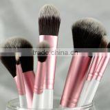 soft two-tone hair 7pcs makeup brush set with leather case (white handle)