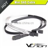 MINI SAS SFF-8087 To 4 SATA 90 degree Angled type HDD cable 100cm