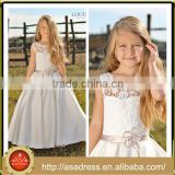 LBFG16 Beautiful Lace Bodice Sleeveless Flower Girl Tulle Dress Full Length Stain Ball Gowns for Little Girls for Weddings