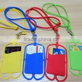 Wholesale fashion gift for cellphone holder customized logo smart phone card wallet with lanyard