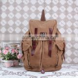 European men canvas backpack with leather trim