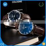 WLW026 Splendid New Luxury Fashion Leather Men Blue Ray Glass Quartz Analog Watch Casual Cool Watch Brand Men Watch
