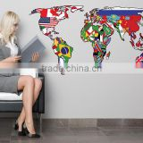 Fashion decal world map wall sticker
