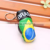 wholesale hot sell PVC leather Brazil flag boxing glove keychain/Brazilian flag boxing glove keyring