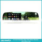 wifi mirror link frameless rearview mirror lcd monitor 4.3inch with wireless mirror link