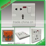 Bakelite plate 250V 1gang 13A 5pin multi socket with switch and neon wall switched socket