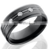 Men's wedding band in black zirconium black titanium ring with simulated stones