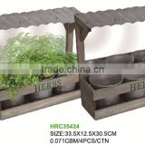 popular 2014 unique design wooden kitchen herb planter with mirror and individual plant pot and soil and seeds