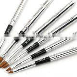6pcs/set stainless steel handle ,Kolinsky acrylic brush set ,acrylic nail brush ,nail art brush set ,nail art brush