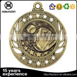hot sale professional custom hollow out diecast embossed iron brass zinc alloy antique brass plated volleyball sport medal