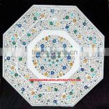 Octagonal Marble Inlay Dining Table Top, Marble Inlay Coffee Table Top