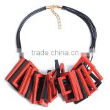red black wooden square pendant choker necklace geometric wood choker necklace Korea wax cord choker necklace