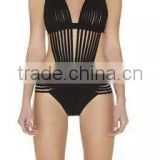Black Deep V Neck Halter One Piece Hollow Out Swimsuit 2015 New Sexy Women Bandage Swimwear