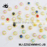 4MM Mix Colors decorative pearl nail art beads Flat back Pearl Beads For Nair Art Decoration