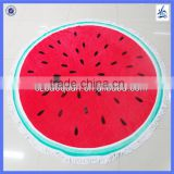 watermelon shaped round beach towel with tassels