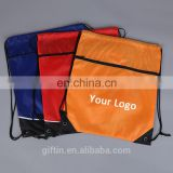 Promotional Adversting Print Satin Sports Travel Polyester Drawstring Backpack String bag