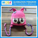 Factory Wholesale Baby Crochet Hat ,Newborn Animal OWL Pattern Hot Pink Cute Beanie