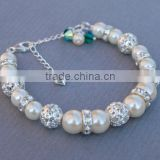 fabcy grils jewelry bracelet white fresh water pearl bracelet with crystal ball