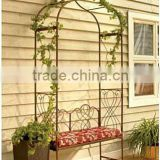 Elegent and fanshion wedding garden iron gate design with a bench