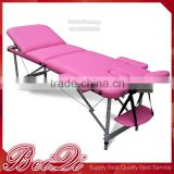 New Beauty Furniture Three Sections Aluminum Massage Bed with Face Holes