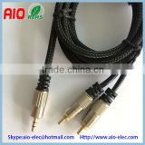 mesh nylon braiding high end 3.5mm 1/8 inch stereo male plug to 2 rca coupler male plug speaker audio adaptor cable