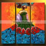 crazy beautiful chinese traditional bride dress hig quality decoration 100% handmade decoration oil painting in canvas