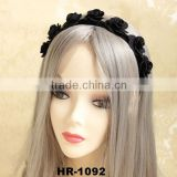 Black Handmade Retro Velvet Rose Flower Elastic Stretchy Hair Band Headband Necklace