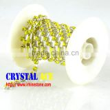 Sew On Decoration Colorful Glass Crystal Rhinestone brass Cup Chain/Wholesale strass Chains