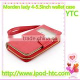 Morden lady fashion wallet leather phone case ,4-5.5 inch universal smart phone wallet style leather case with strap and mirror