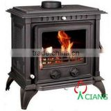cast iron wood burning freestanding fireplace with boiler