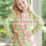 Low price Wholesale round neck kids stripes plain t shirts made in china long sleeves ruffle t shirt kids model