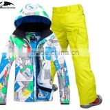 snow mens ski suit male veneer double plate skiing jacket and pants skiing suit for men waterproof 10K thick free ship