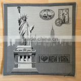 jacquard polycotton cushion for home &hotel decoration &promotion&gift &supermarket retail--black and white Statue of Liberty