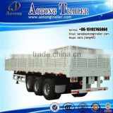 own factory 3 Axles Cargo Side Wall Open Flatbed Semi Trailer with Pannel for sale / Concrete price for trailer trader