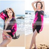 2015 fashion scarf high qulity black printed bikini wrap dress