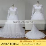 Real Works V Neck Wedding Dresses for Fat Woman Long Sleeve Lace Ball Gowns 2015                                                                         Quality Choice